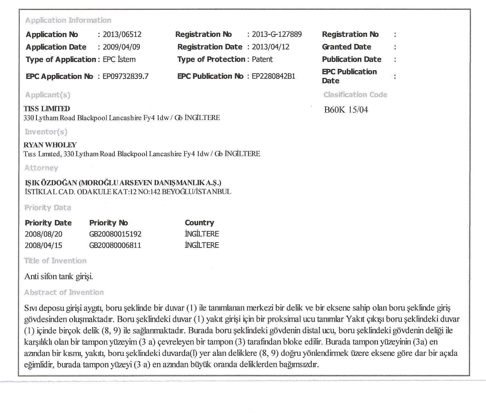 TISS Tank Safe ürünleri Patent Bilgileri